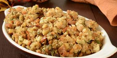 baking dish with low carb breadcrumb stuffing on nice table